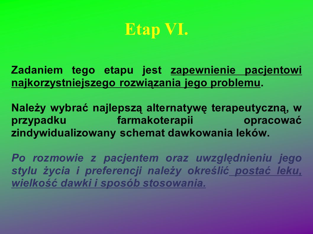Etap VI. Zadaniem tego etapu jest zapewnienie pacjentowi najkorzystniejszego rozwiązania jego problemu. Należy wybrać najlepszą alternatywę terapeutyc