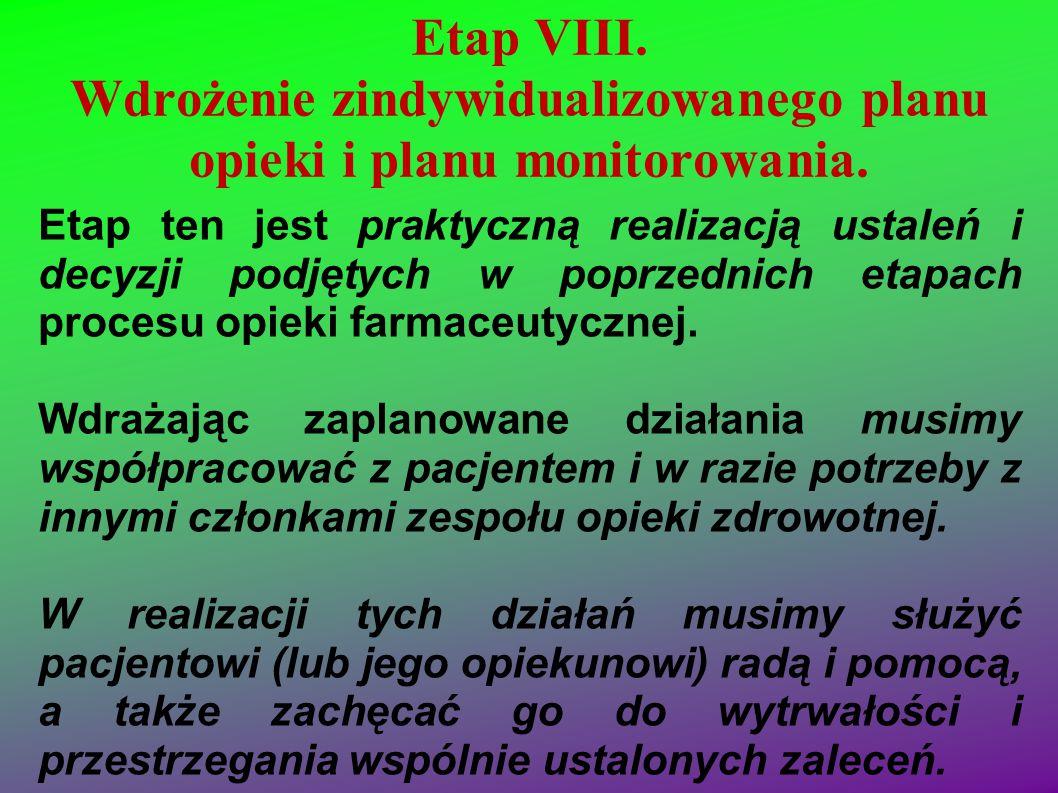 Etap VIII. Wdrożenie zindywidualizowanego planu opieki i planu monitorowania. Etap ten jest praktyczną realizacją ustaleń i decyzji podjętych w poprze