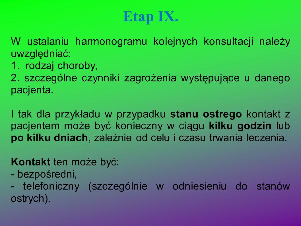 Etap IX. W ustalaniu harmonogramu kolejnych konsultacji należy uwzględniać: 1. rodzaj choroby, 2. szczególne czynniki zagrożenia występujące u danego