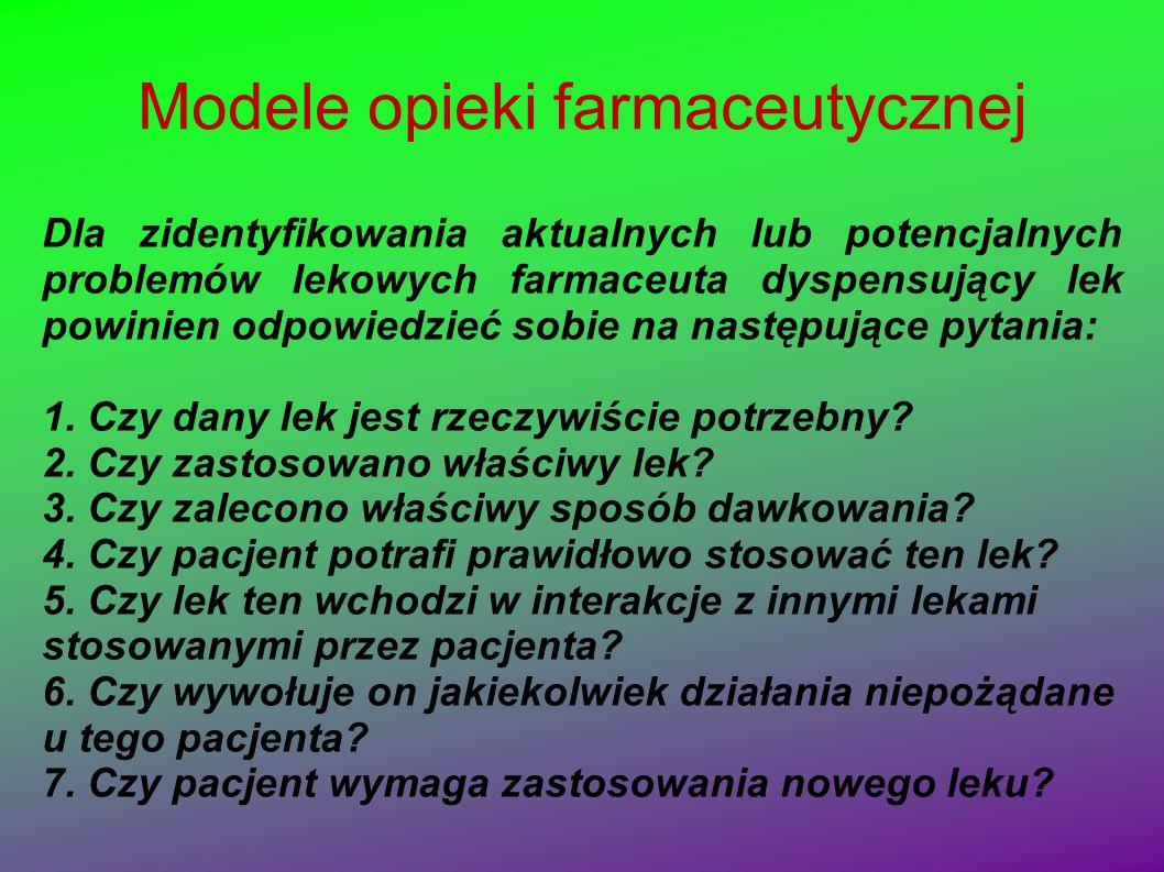 Modele opieki farmaceutycznej Dla zidentyfikowania aktualnych lub potencjalnych problemów lekowych farmaceuta dyspensujący lek powinien odpowiedzieć s