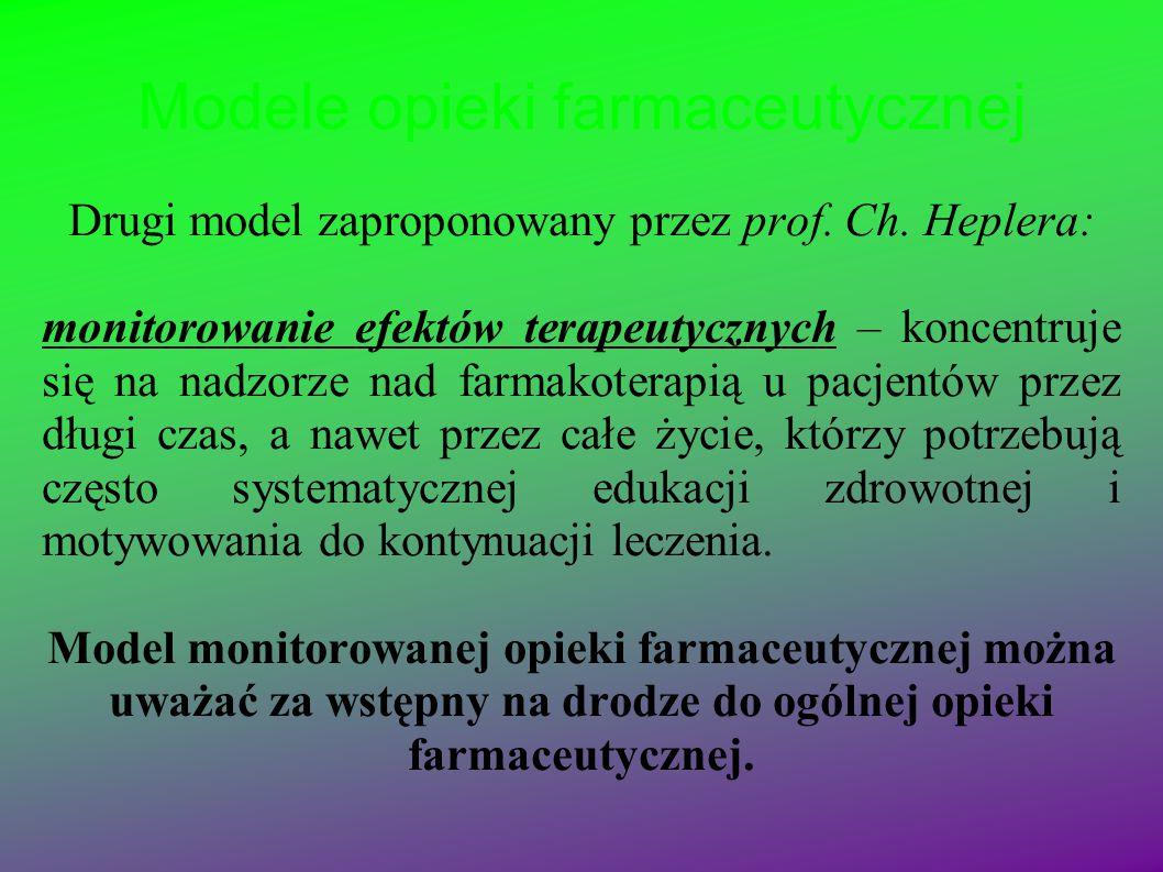 Modele opieki farmaceutycznej Drugi model zaproponowany przez prof. Ch. Heplera: monitorowanie efektów terapeutycznych – koncentruje się na nadzorze n
