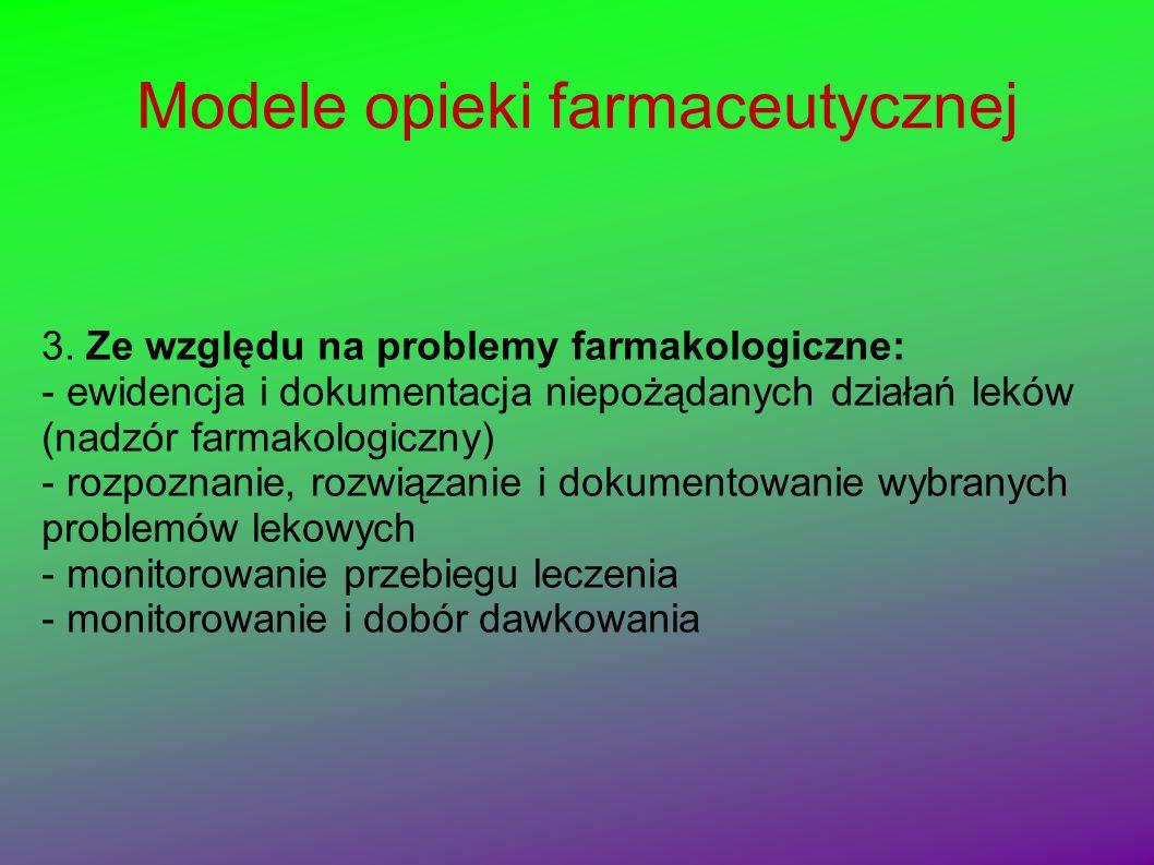 Modele opieki farmaceutycznej 3. Ze względu na problemy farmakologiczne: - ewidencja i dokumentacja niepożądanych działań leków (nadzór farmakologiczn