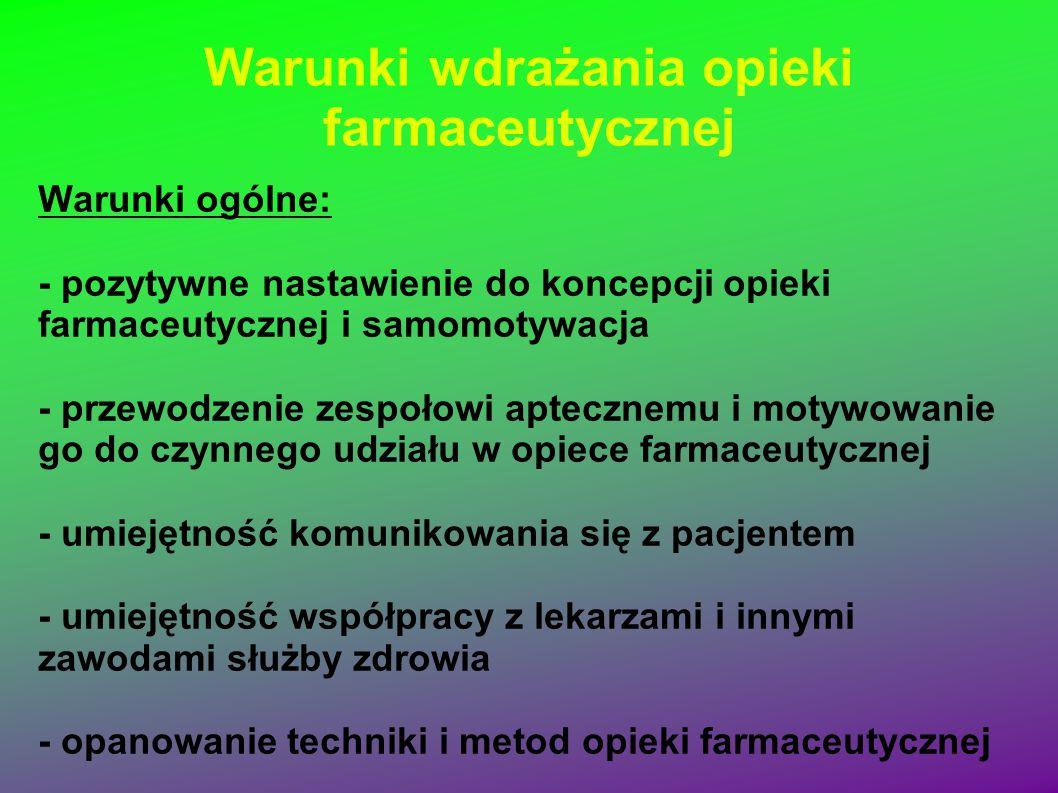Warunki wdrażania opieki farmaceutycznej Warunki ogólne: - pozytywne nastawienie do koncepcji opieki farmaceutycznej i samomotywacja - przewodzenie ze