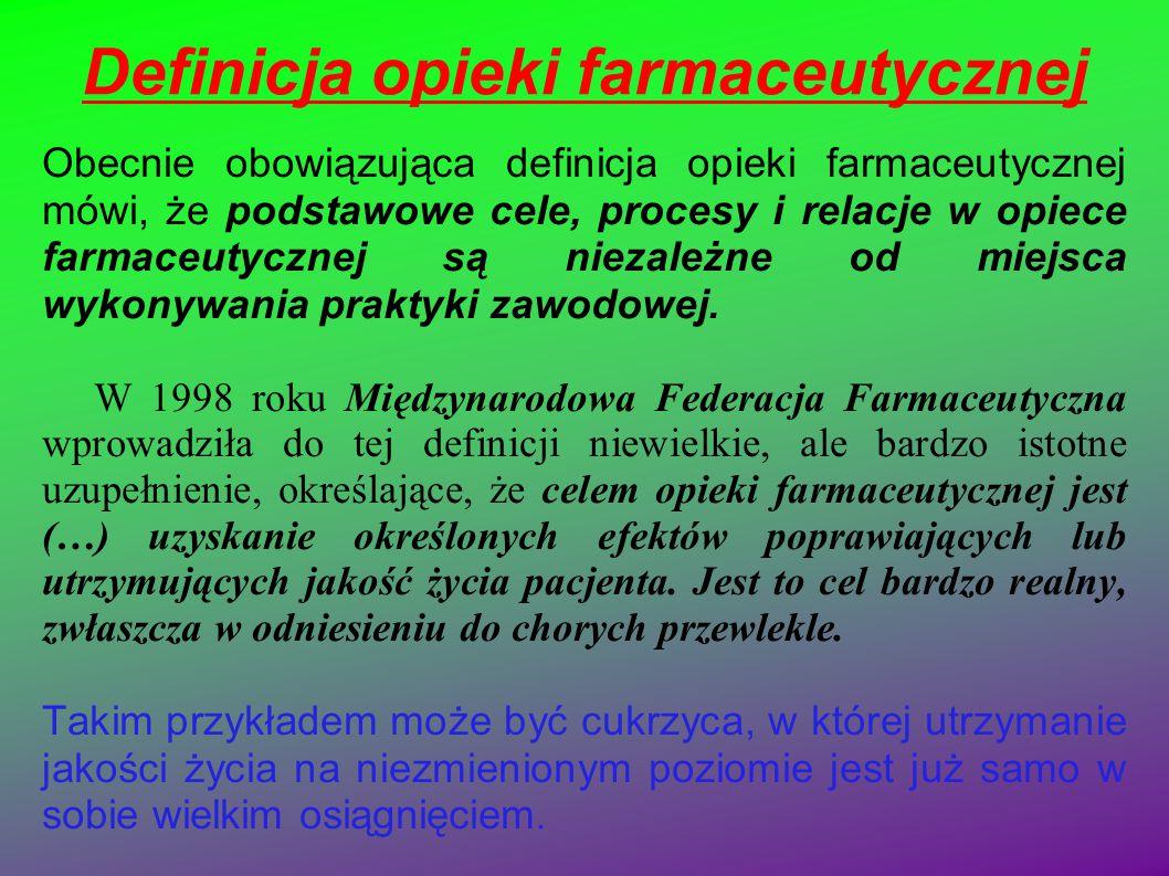 Definicja opieki farmaceutycznej Obecnie obowiązująca definicja opieki farmaceutycznej mówi, że podstawowe cele, procesy i relacje w opiece farmaceuty