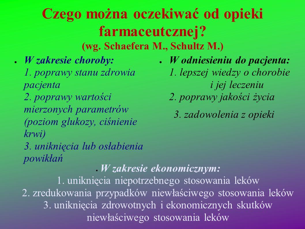 Czego można oczekiwać od opieki farmaceutcznej? (wg. Schaefera M., Schultz M.) ● W zakresie choroby: 1. poprawy stanu zdrowia pacjenta 2. poprawy wart