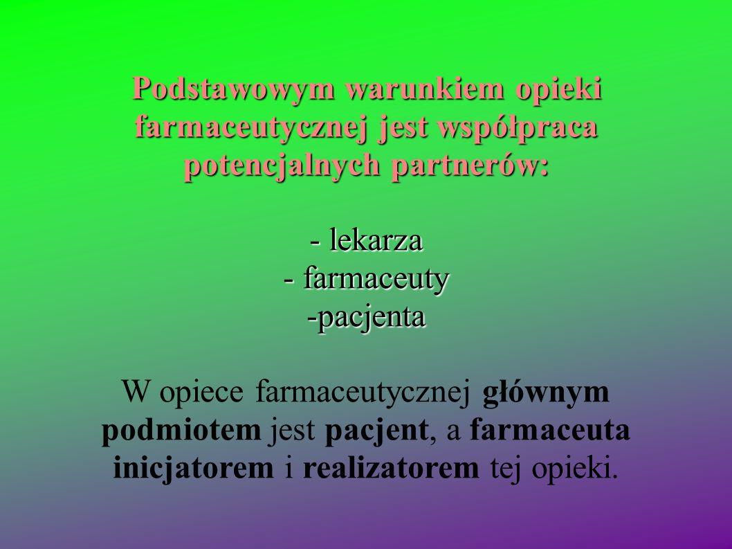 Podstawowym warunkiem opieki farmaceutycznej jest współpraca potencjalnych partnerów: - lekarza - farmaceuty -pacjenta W opiece farmaceutycznej główny