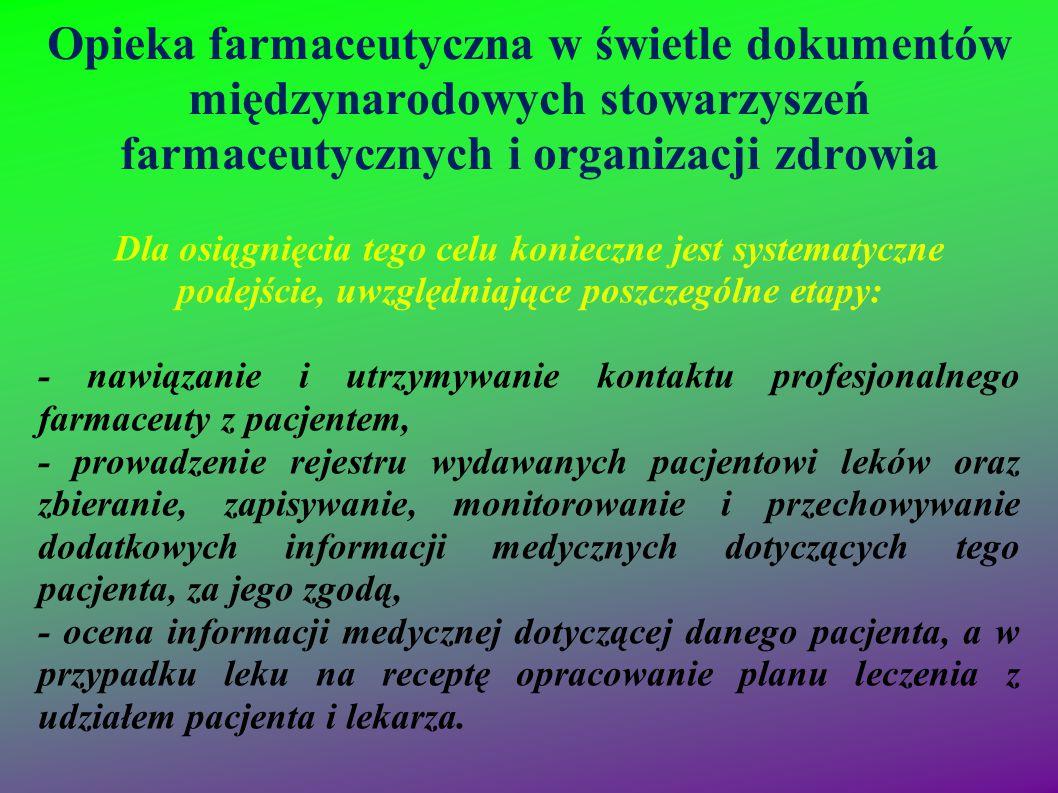 Opieka farmaceutyczna w świetle dokumentów międzynarodowych stowarzyszeń farmaceutycznych i organizacji zdrowia Dla osiągnięcia tego celu konieczne je
