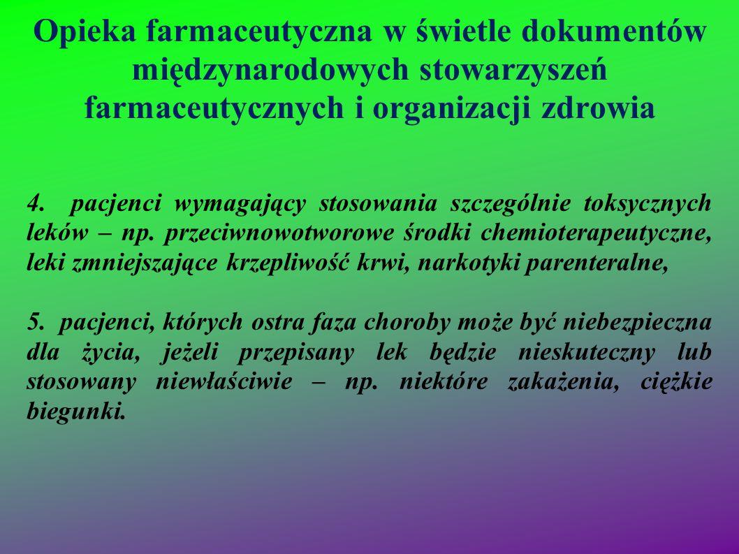 Opieka farmaceutyczna w świetle dokumentów międzynarodowych stowarzyszeń farmaceutycznych i organizacji zdrowia 4. pacjenci wymagający stosowania szcz