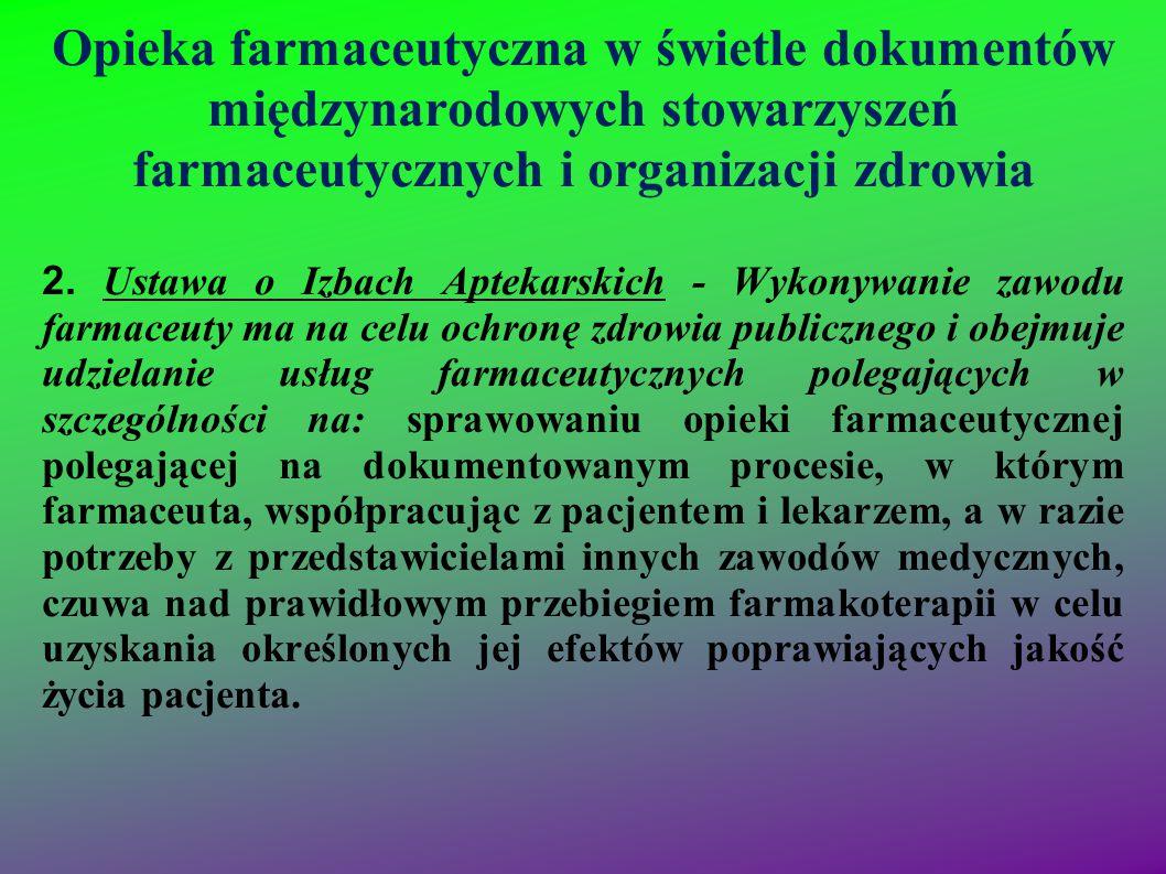 Opieka farmaceutyczna w świetle dokumentów międzynarodowych stowarzyszeń farmaceutycznych i organizacji zdrowia 2. Ustawa o Izbach Aptekarskich - Wyko