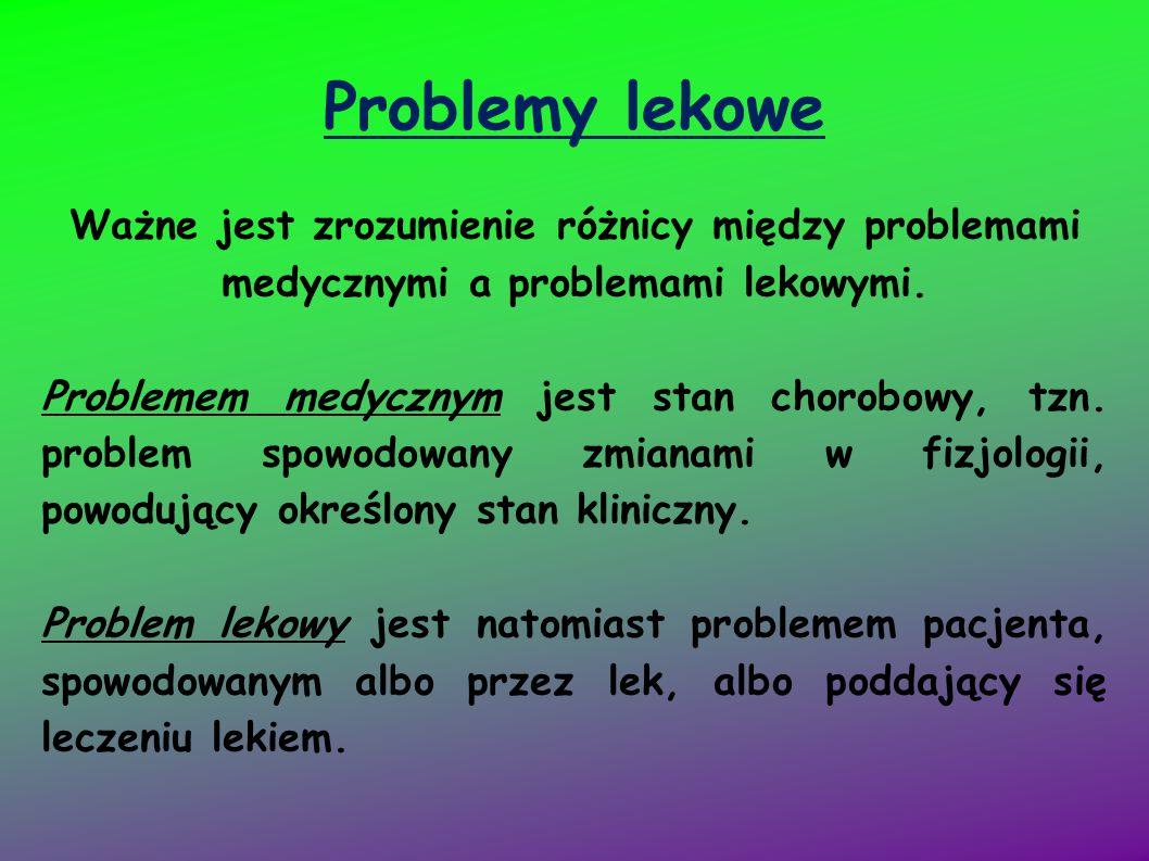 Problemy lekowe Ważne jest zrozumienie różnicy między problemami medycznymi a problemami lekowymi. Problemem medycznym jest stan chorobowy, tzn. probl