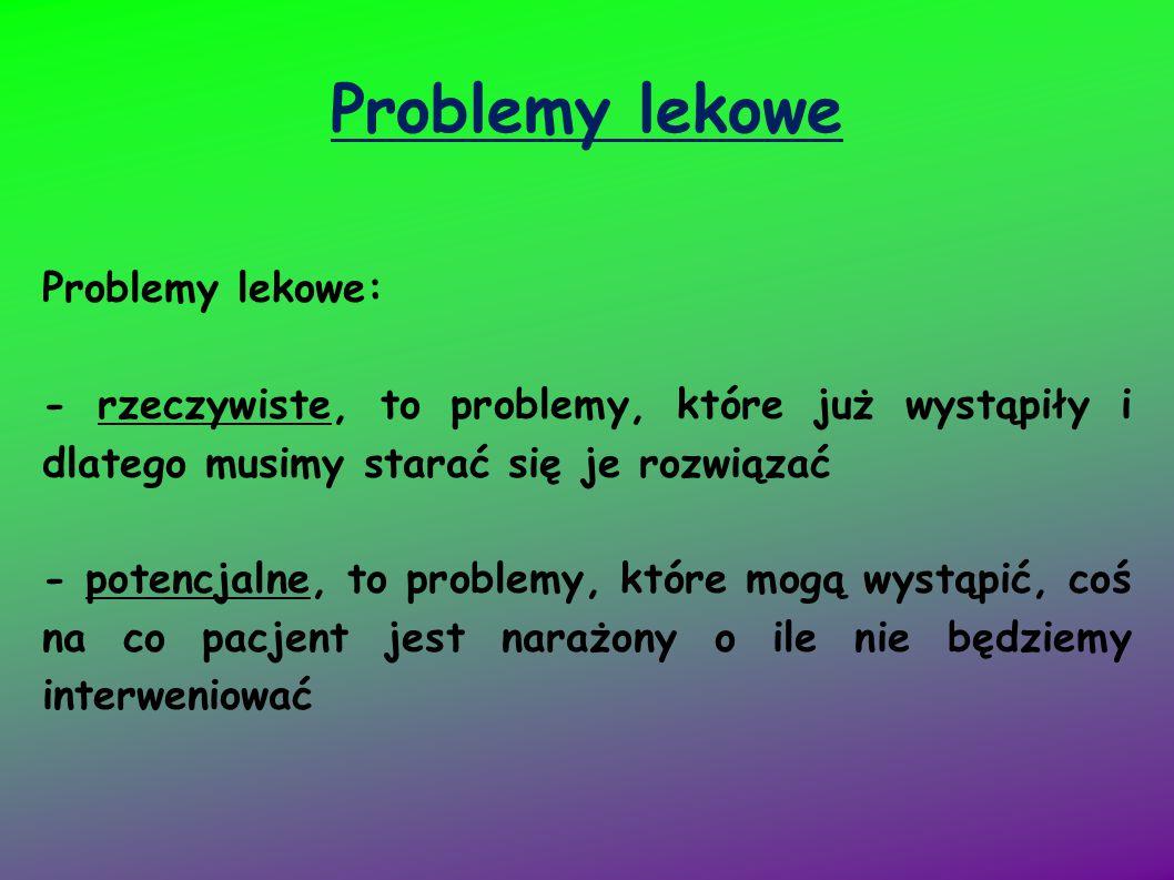 Problemy lekowe Problemy lekowe: - rzeczywiste, to problemy, które już wystąpiły i dlatego musimy starać się je rozwiązać - potencjalne, to problemy,