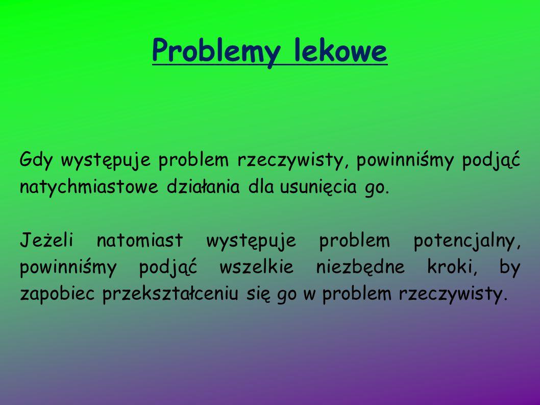 Problemy lekowe Gdy występuje problem rzeczywisty, powinniśmy podjąć natychmiastowe działania dla usunięcia go. Jeżeli natomiast występuje problem pot