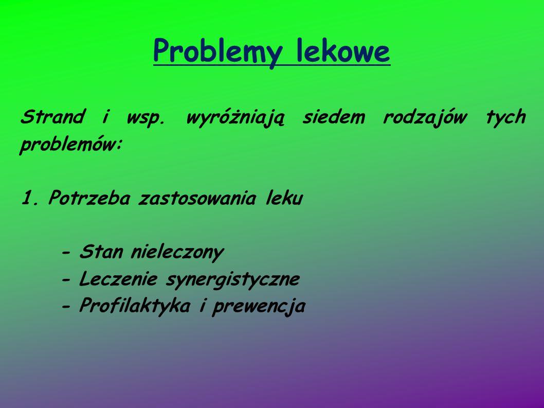 Problemy lekowe Strand i wsp. wyróżniają siedem rodzajów tych problemów: 1. Potrzeba zastosowania leku - Stan nieleczony - Leczenie synergistyczne - P