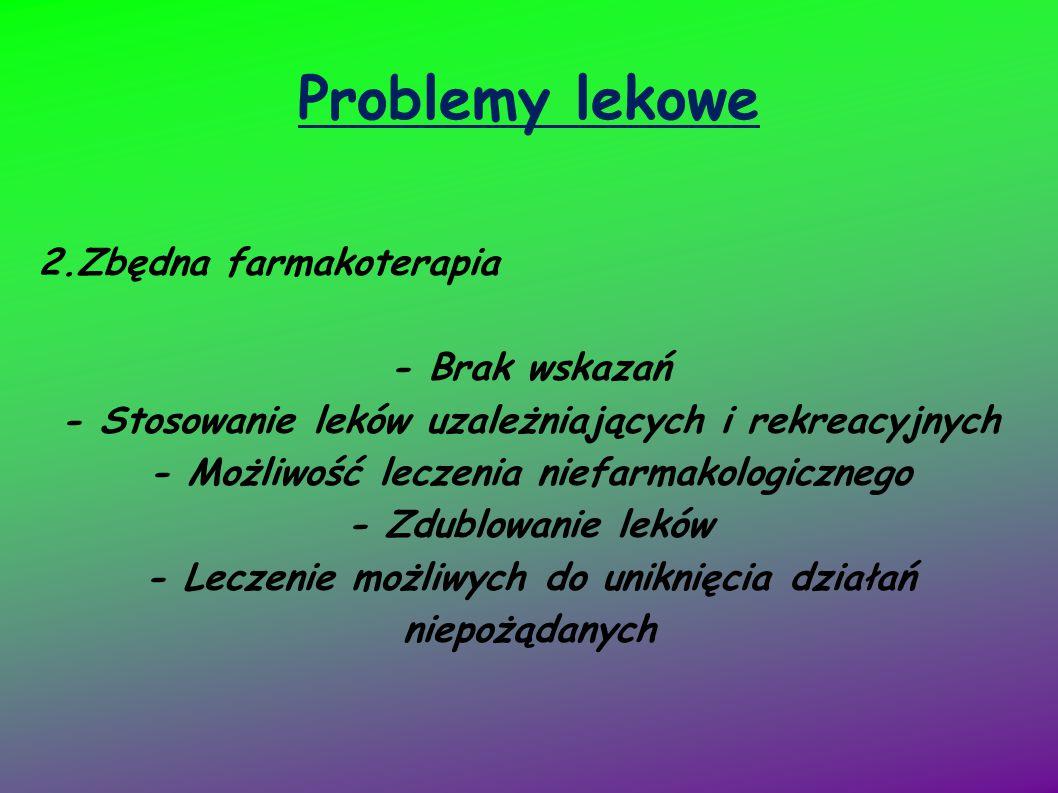 Problemy lekowe 2.Zbędna farmakoterapia - Brak wskazań - Stosowanie leków uzależniających i rekreacyjnych - Możliwość leczenia niefarmakologicznego -