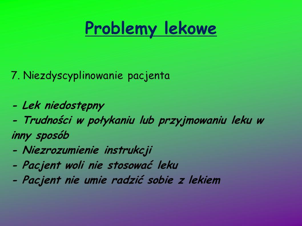 Problemy lekowe 7. Niezdyscyplinowanie pacjenta - Lek niedostępny - Trudności w połykaniu lub przyjmowaniu leku w inny sposób - Niezrozumienie instruk
