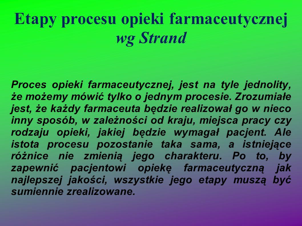 Etapy procesu opieki farmaceutycznej wg Strand Proces opieki farmaceutycznej, jest na tyle jednolity, że możemy mówić tylko o jednym procesie. Zrozumi