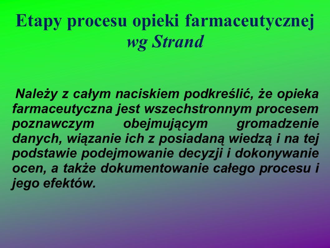 Etapy procesu opieki farmaceutycznej wg Strand Należy z całym naciskiem podkreślić, że opieka farmaceutyczna jest wszechstronnym procesem poznawczym o