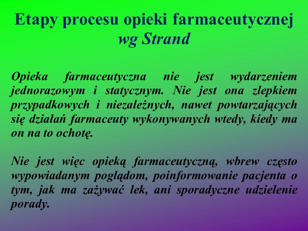 Etapy procesu opieki farmaceutycznej wg Strand Opieka farmaceutyczna nie jest wydarzeniem jednorazowym i statycznym. Nie jest ona zlepkiem przypadkowy