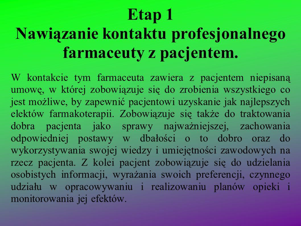 Etap 1 Nawiązanie kontaktu profesjonalnego farmaceuty z pacjentem. W kontakcie tym farmaceuta zawiera z pacjentem niepisaną umowę, w której zobowiązuj