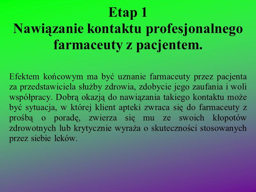 Etap 1 Nawiązanie kontaktu profesjonalnego farmaceuty z pacjentem. Efektem końcowym ma być uznanie farmaceuty przez pacjenta za przedstawiciela służby