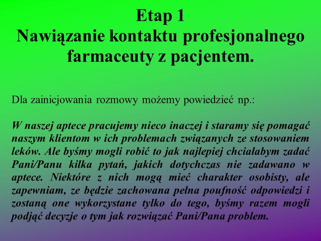 Etap 1 Nawiązanie kontaktu profesjonalnego farmaceuty z pacjentem. Dla zainicjowania rozmowy możemy powiedzieć np.: W naszej aptece pracujemy nieco in