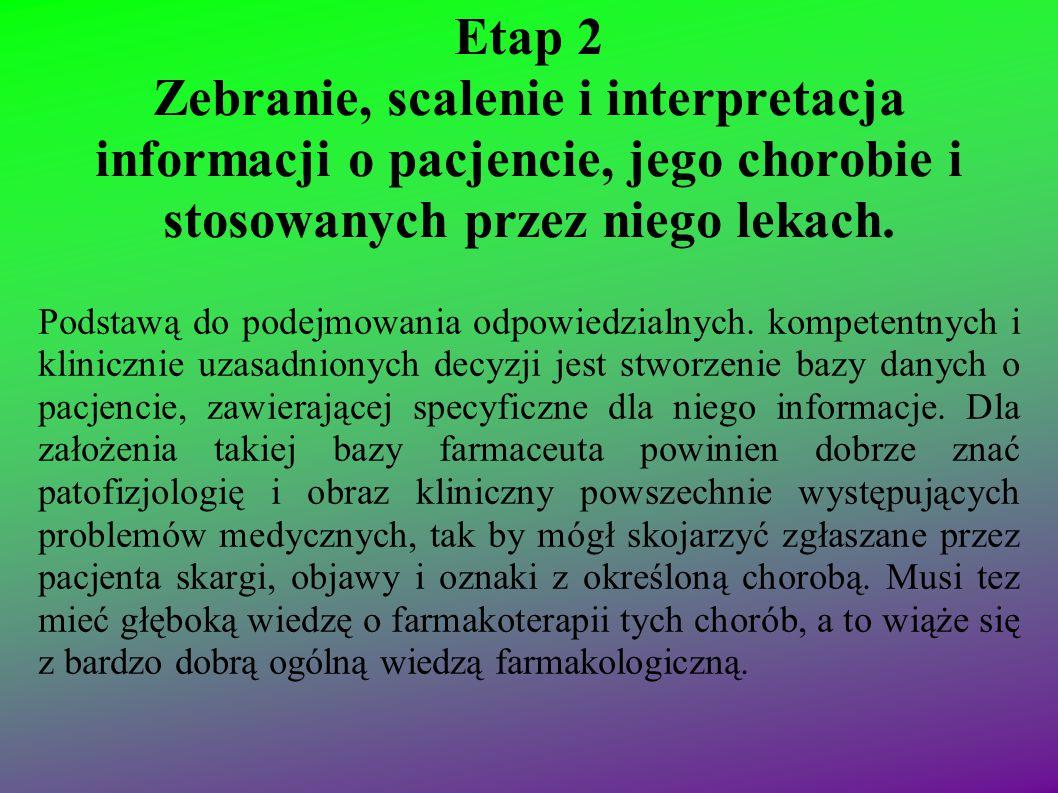 Etap 2 Zebranie, scalenie i interpretacja informacji o pacjencie, jego chorobie i stosowanych przez niego lekach. Podstawą do podejmowania odpowiedzia