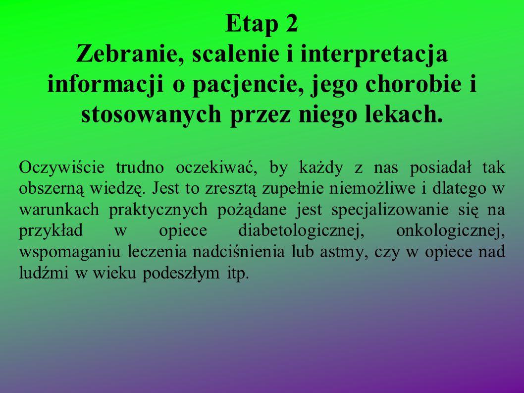 Etap 2 Zebranie, scalenie i interpretacja informacji o pacjencie, jego chorobie i stosowanych przez niego lekach. Oczywiście trudno oczekiwać, by każd