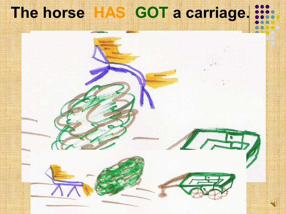 The horse HAS GOT a carriage. QUESTION : HAS the horse GOT a carriage ?