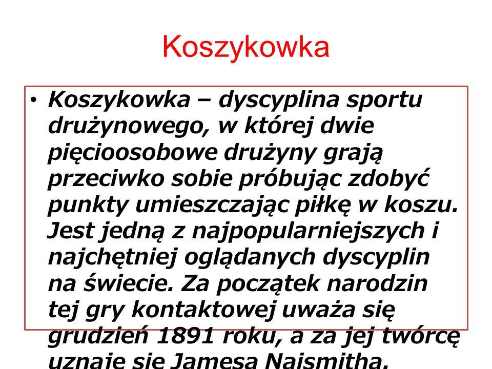 Koszykowka Koszykowka – dyscyplina sportu drużynowego, w której dwie pięcioosobowe drużyny grają przeciwko sobie próbując zdobyć punkty umieszczając p