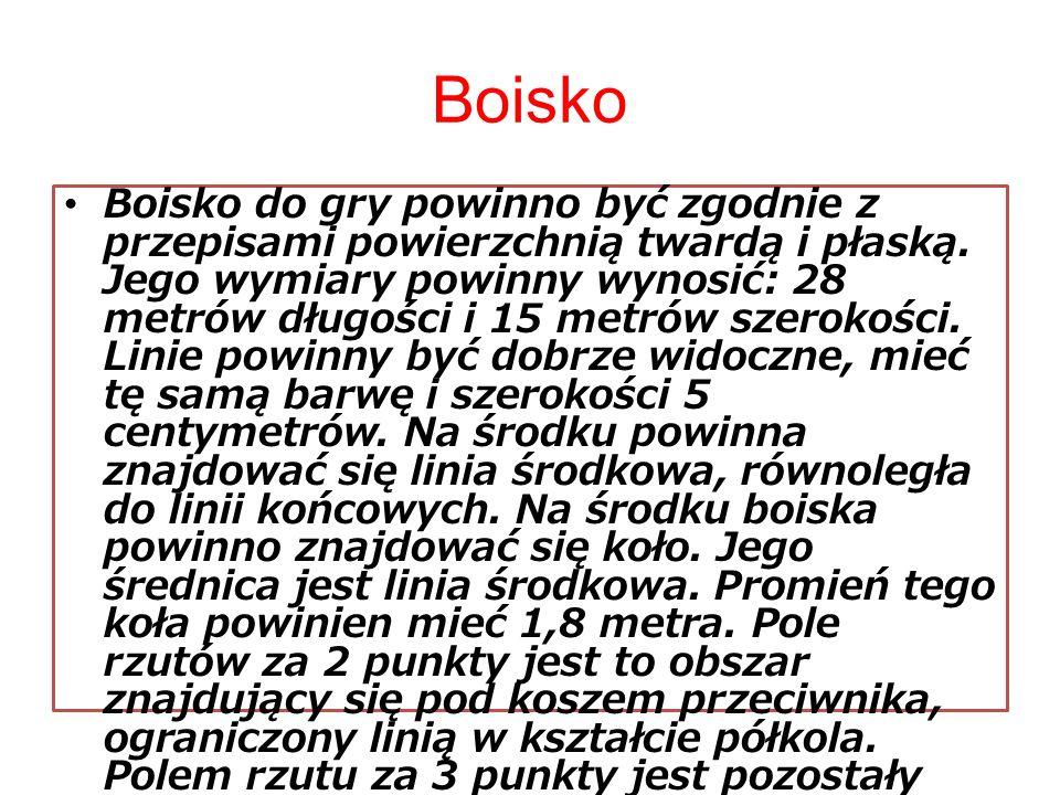 Boisko Boisko do gry powinno być zgodnie z przepisami powierzchnią twardą i płaską. Jego wymiary powinny wynosić: 28 metrów długości i 15 metrów szero
