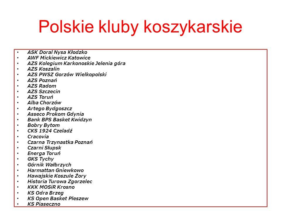 Polskie kluby koszykarskie ASK Doral Nysa Kłodzko AWF Mickiewicz Katowice AZS Kolegium Karkonoskie Jelenia góra AZS Koszalin AZS PWSZ Gorzów Wielkopol