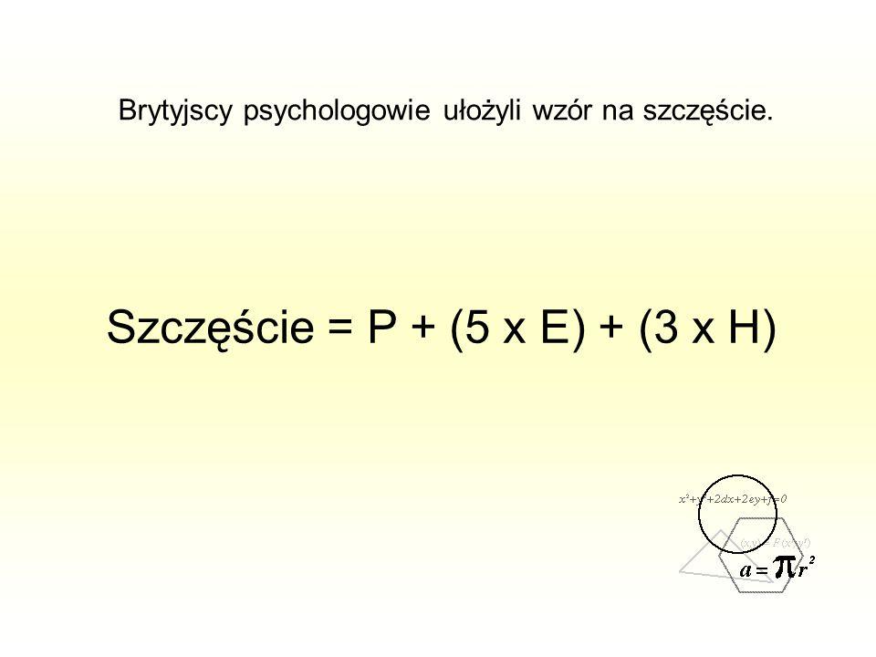 Brytyjscy psychologowie ułożyli wzór na szczęście. Szczęście = P + (5 x E) + (3 x H)
