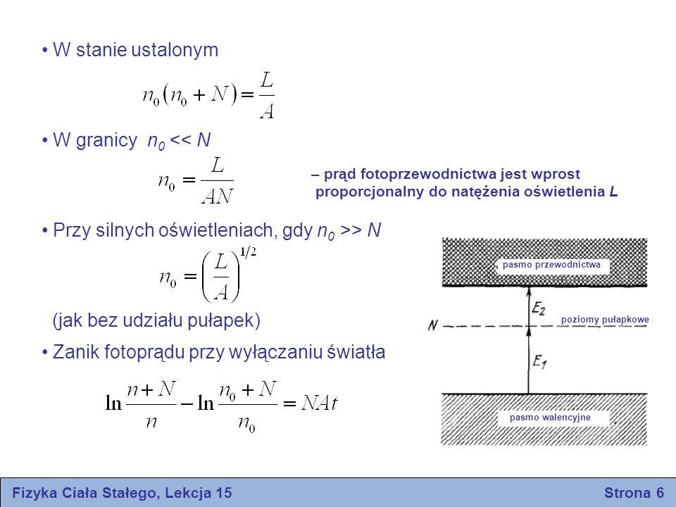 Fizyka Ciała Stałego, Lekcja 15 Strona 6 W stanie ustalonym W granicy n 0 << N Przy silnych oświetleniach, gdy n 0 >> N (jak bez udziału pułapek) Zani