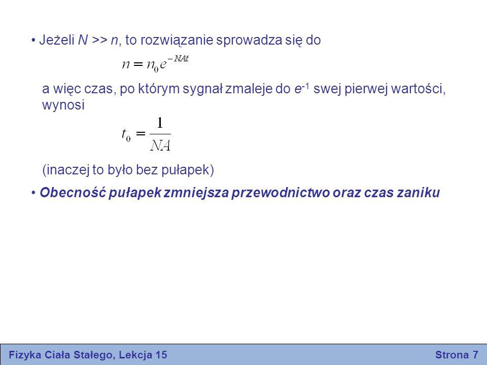 Fizyka Ciała Stałego, Lekcja 15 Strona 7 Jeżeli N >> n, to rozwiązanie sprowadza się do a więc czas, po którym sygnał zmaleje do e -1 swej pierwej war