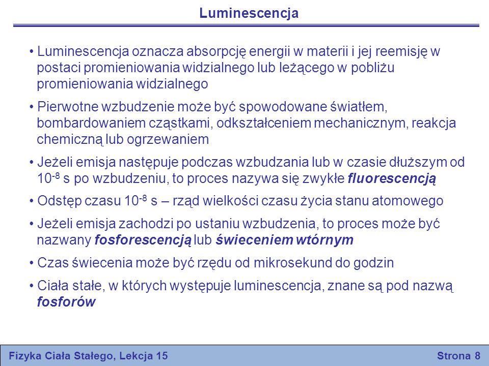 Fizyka Ciała Stałego, Lekcja 15 Strona 8 Luminescencja Luminescencja oznacza absorpcję energii w materii i jej reemisję w postaci promieniowania widzi