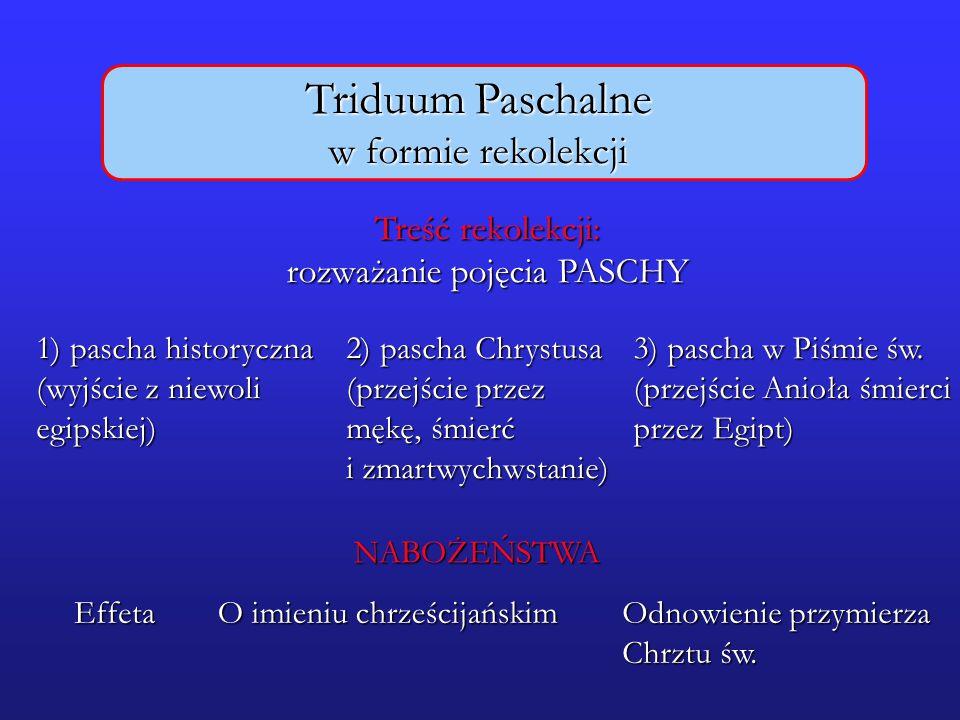 Triduum Paschalne w formie rekolekcji Treść rekolekcji: rozważanie pojęcia PASCHY 1) pascha historyczna (wyjście z niewoli egipskiej) 2) pascha Chryst