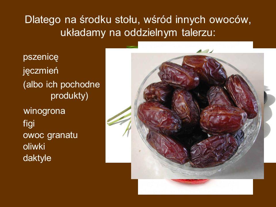 Dlatego na środku stołu, wśród innych owoców, układamy na oddzielnym talerzu: pszenicę jęczmień (albo ich pochodne produkty) winogrona figi owoc granatu oliwki daktyle