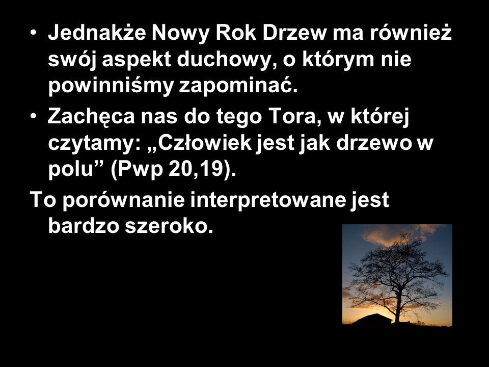 """Jednakże Nowy Rok Drzew ma również swój aspekt duchowy, o którym nie powinniśmy zapominać. Zachęca nas do tego Tora, w której czytamy: """"Człowiek jest"""