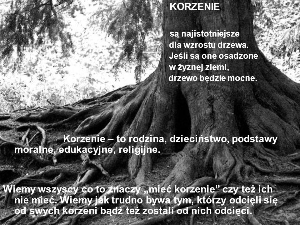 KORZENIE są najistotniejsze dla wzrostu drzewa. Jeśli są one osadzone w żyznej ziemi, drzewo będzie mocne. Korzenie – to rodzina, dzieciństwo, podstaw