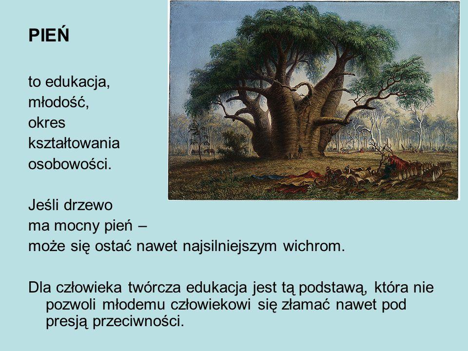 PIEŃ to edukacja, młodość, okres kształtowania osobowości. Jeśli drzewo ma mocny pień – może się ostać nawet najsilniejszym wichrom. Dla człowieka twó