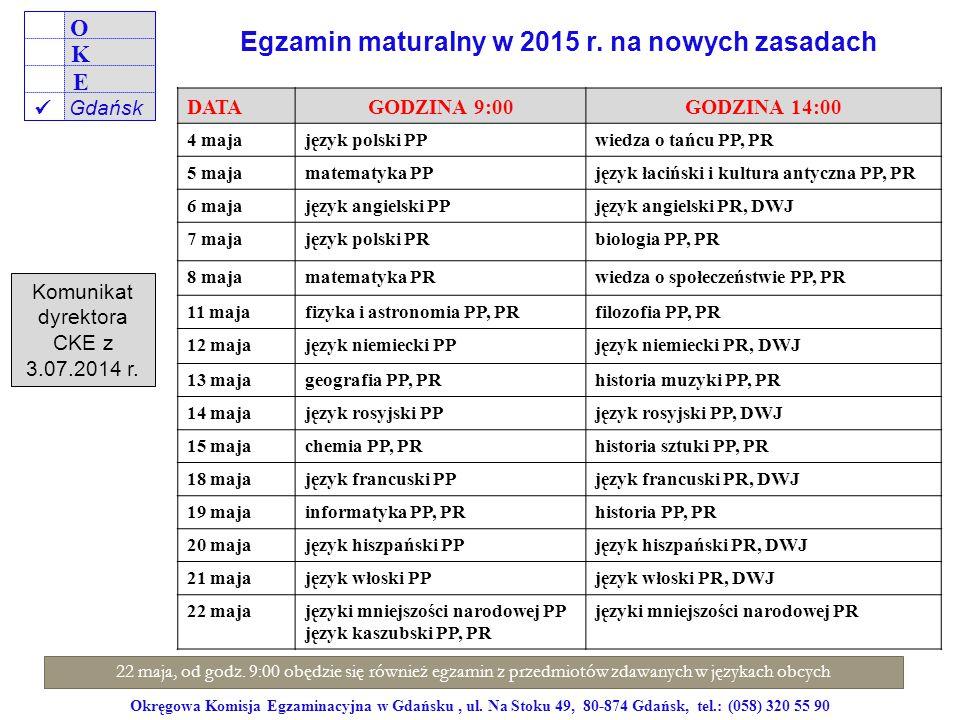 Okręgowa Komisja Egzaminacyjna w Gdańsku, ul. Na Stoku 49, 80-874 Gdańsk, tel.: (058) 320 55 90 DATAGODZINA 9:00GODZINA 14:00 4 majajęzyk polski PPwie