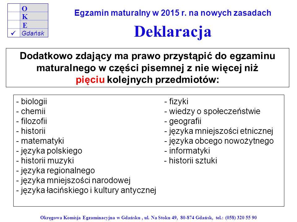 Powodzenia na egzaminie.47 Okręgowa Komisja Egzaminacyjna w Gdańsku, ul.