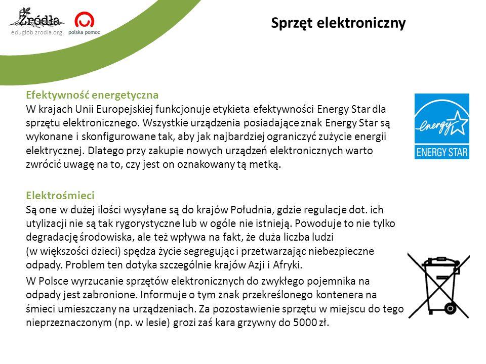 eduglob.zrodla.org Efektywność energetyczna W krajach Unii Europejskiej funkcjonuje etykieta efektywności Energy Star dla sprzętu elektronicznego. Wsz