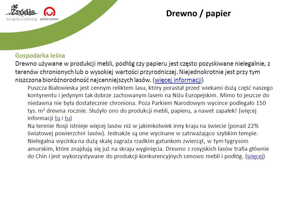 eduglob.zrodla.org Gospodarka leśna Drewno używane w produkcji mebli, podłóg czy papieru jest często pozyskiwane nielegalnie, z terenów chronionych lu