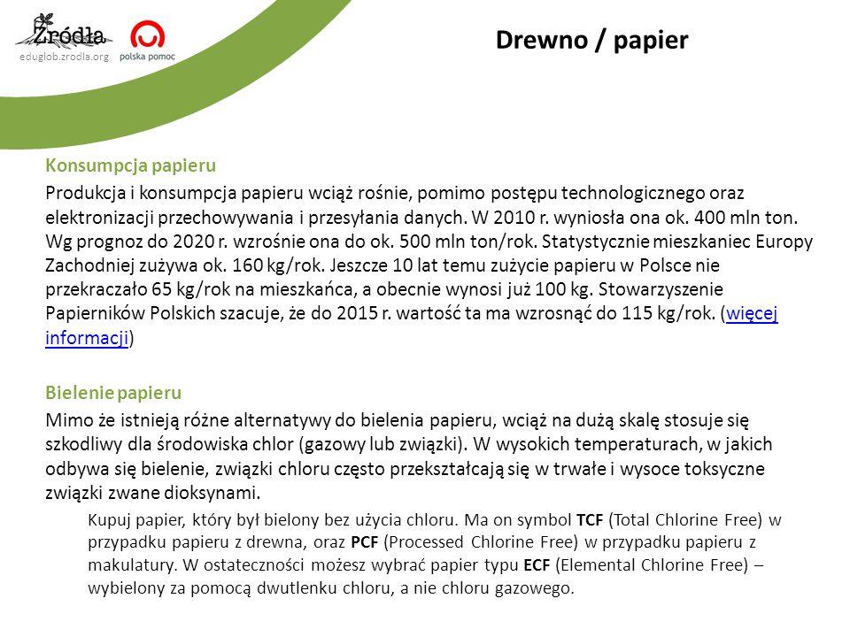 eduglob.zrodla.org Konsumpcja papieru Produkcja i konsumpcja papieru wciąż rośnie, pomimo postępu technologicznego oraz elektronizacji przechowywania