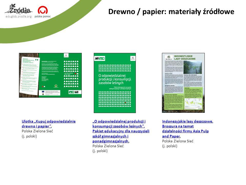 eduglob.zrodla.org Drewno / papier: materiały źródłowe Indonezyjskie lasy deszczowe. Broszura na temat działalności firmy Asia Pulp and PaperIndonezyj