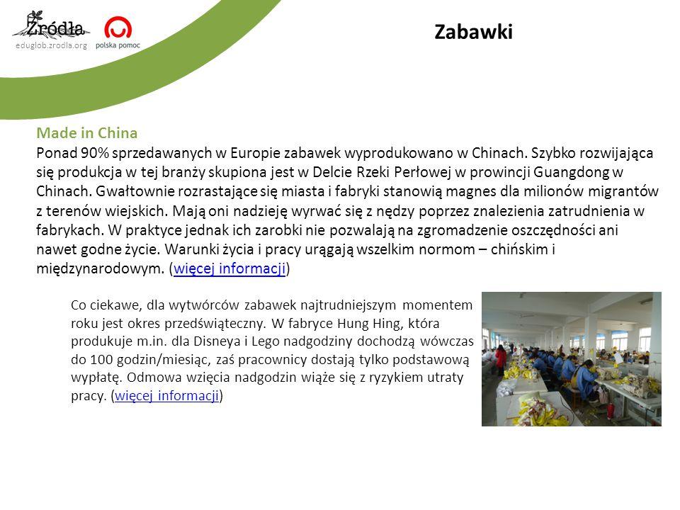 eduglob.zrodla.org Made in China Ponad 90% sprzedawanych w Europie zabawek wyprodukowano w Chinach. Szybko rozwijająca się produkcja w tej branży skup