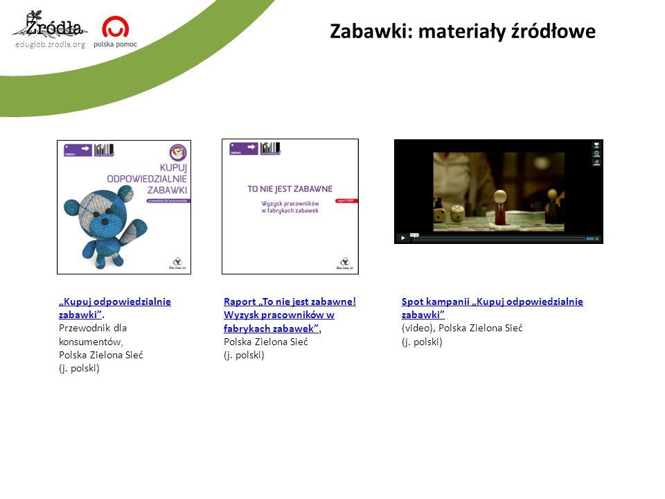 """eduglob.zrodla.org Zabawki: materiały źródłowe Spot kampanii """"Kupuj odpowiedzialnie zabawki"""" (video), Polska Zielona Sieć (j. polski) Raport """"To nie j"""