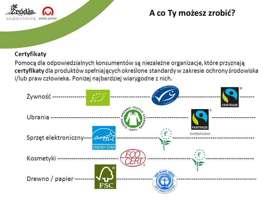 eduglob.zrodla.org Certyfikaty Pomocą dla odpowiedzialnych konsumentów są niezależne organizacje, które przyznają certyfikaty dla produktów spełniając