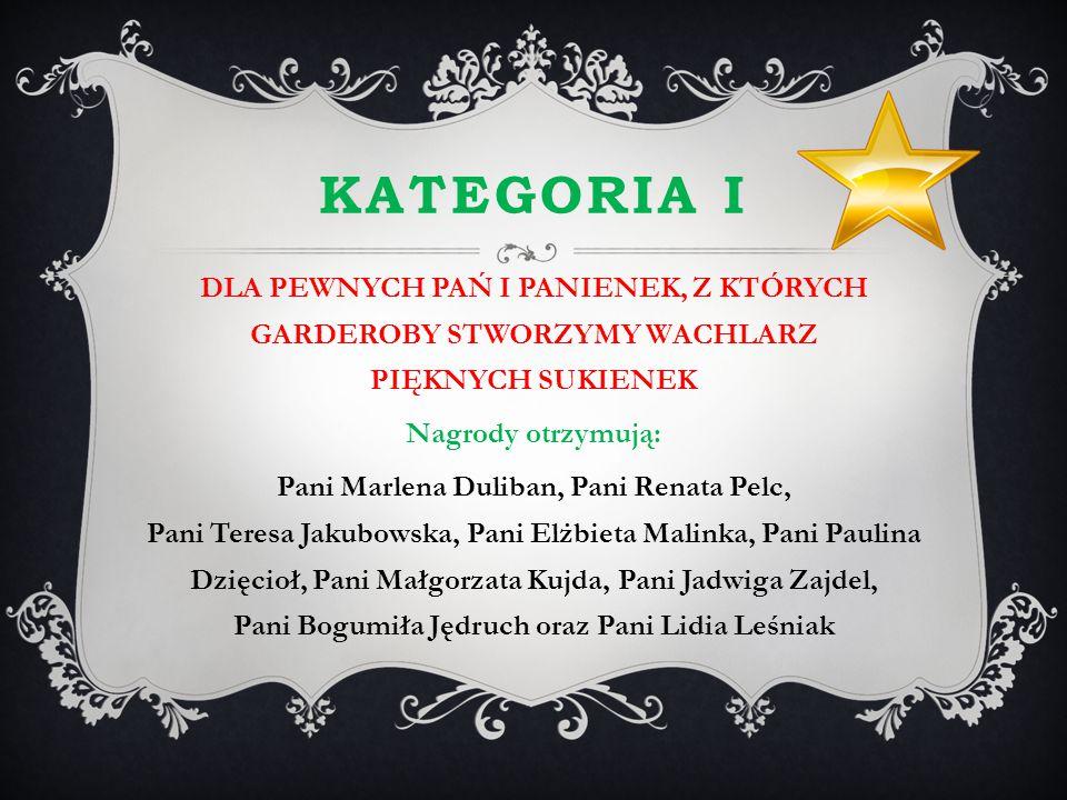 KATEGORIA I DLA PEWNYCH PAŃ I PANIENEK, Z KTÓRYCH GARDEROBY STWORZYMY WACHLARZ PIĘKNYCH SUKIENEK Nagrody otrzymują: Pani Marlena Duliban, Pani Renata